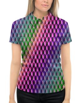 """Рубашка Поло с полной запечаткой """"Градиент"""" - графика, краски, геометрия, градиент, шестиугольник"""