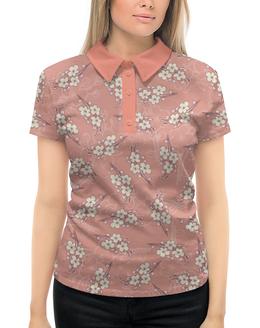 """Рубашка Поло с полной запечаткой """"Ветки цветущей вишни"""" - весна, розовый, вишня, ветки, фон"""