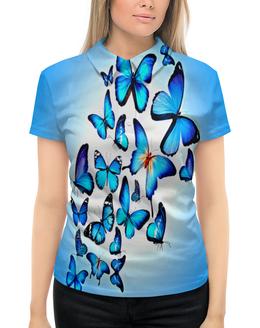 """Рубашка Поло с полной запечаткой """"Бабочки"""" - бабочки, голубой, природа, цветные, насекомые"""