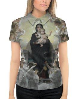 "Рубашка Поло с полной запечаткой ""La Vierge aux anges (картина Вильяма Бугро)"" - картина, академизм, живопись, христианство, бугро"