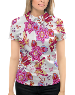 """Рубашка Поло с полной запечаткой """"Весна"""" - бабочки, цветы, узор, листья, весна"""