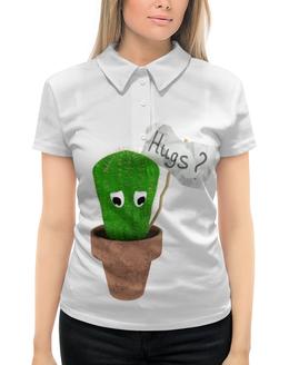 """Рубашка Поло с полной запечаткой """"Hugs?"""" - обнимашки, колючий, грустный, кактус, hugs"""