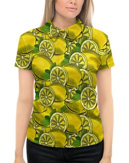 """Рубашка Поло с полной запечаткой """"Лимон"""" - еда, ягоды, фрукт, лимон, плоды"""
