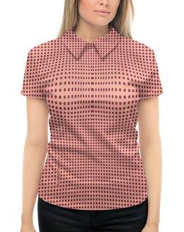 """Рубашка Поло с полной запечаткой """"Женская модель (персиково-вишневая)"""" - девушка, цветы, женщина, геометрия, иллюзия"""