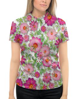 """Рубашка Поло с полной запечаткой """"Розовые цветы"""" - цветы, весна, розовый, узор, цветочки"""