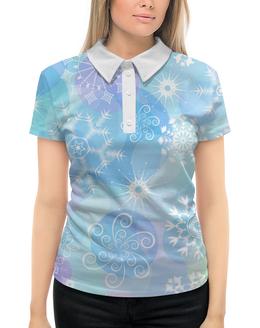 """Рубашка Поло с полной запечаткой """"Снежинка"""" - новый год, снежинки"""