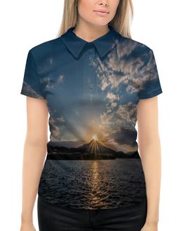 """Рубашка Поло с полной запечаткой """"Закат """" - солнце, море, природа, закат, горы"""