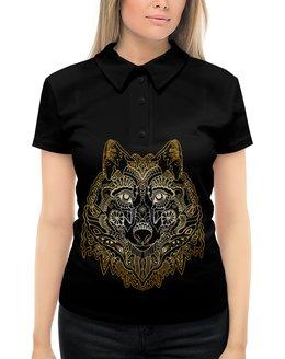 """Рубашка Поло с полной запечаткой """"Голова волка"""" - животное, волк"""