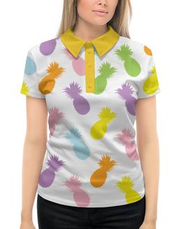 """Рубашка Поло с полной запечаткой """"Ананасы!"""" - ананас, узор, фрукты, радуга, паттерн"""