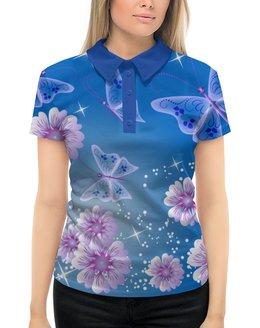 """Рубашка Поло с полной запечаткой """"Летние цветы"""" - лето, бабочки, цветы"""