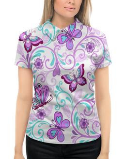 """Рубашка Поло с полной запечаткой """"Цветные бабочки"""" - бабочки, цветы, узор, весна, природа"""