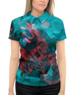 """Рубашка Поло с полной запечаткой """"Красно-бирюзовая абстракция"""" - 8 марта, красный, паттерн, абстрактный, нежный"""