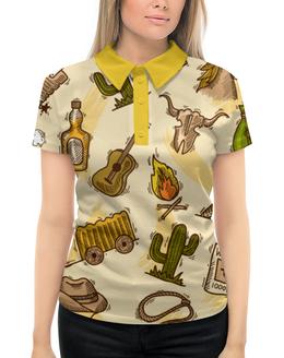"""Рубашка Поло с полной запечаткой """"Дикий запад"""" - ковбой, гитара, бутылки, кактус"""