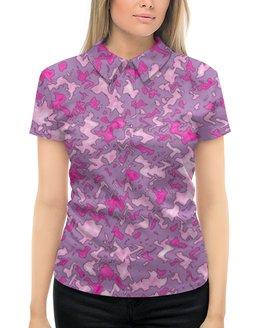 """Рубашка Поло с полной запечаткой """"Камуфляж """"Мраморный (розовый)"""" """" - узор, розовый, камуфляж, мрамор, военный"""