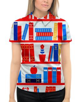 """Рубашка Поло с полной запечаткой """"Книги"""" - цветы, яблоко, книги, будильник, полка"""
