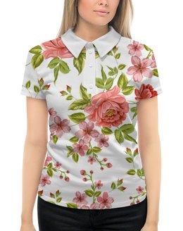 """Рубашка Поло с полной запечаткой """"Цветы"""" - розы, цветы"""