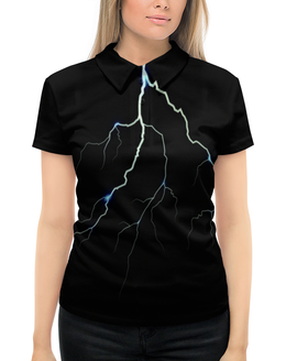 """Рубашка Поло с полной запечаткой """"Молния"""" - гроза, небо, молния, черно-белые, разряд"""
