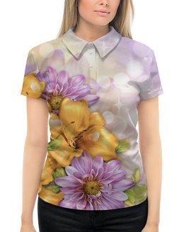 """Рубашка Поло с полной запечаткой """"Цветы"""" - лето, цветы"""