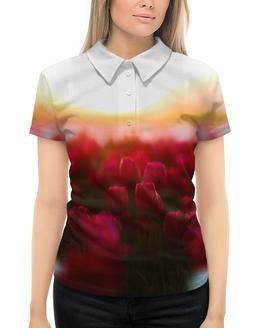 """Рубашка Поло с полной запечаткой """"Тюльпаны"""" - тюльпаны, цветы"""