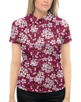 """Рубашка Поло с полной запечаткой """"Цветущая вишня"""" - цветы, весна, природа, цветущая вишня"""