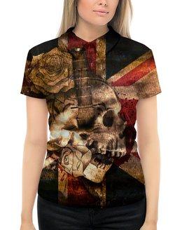 """Рубашка Поло с полной запечаткой """"Череп конфедерата"""" - череп, флаг, розы, united kingdom, флаг конфедерации"""