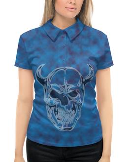 """Рубашка Поло с полной запечаткой """"Череп с рогами"""" - череп, красный, кости, синий, рога"""
