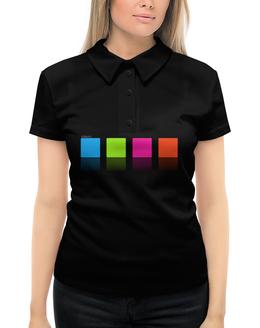 """Рубашка Поло с полной запечаткой """"Цветные квадраты"""" - цвет, квадрат, контраст"""