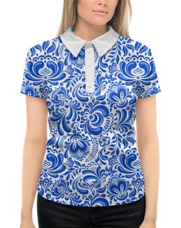 """Рубашка Поло с полной запечаткой """"Гжель"""" - рисунок, гжель, роспись"""