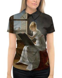 """Рубашка Поло с полной запечаткой """"Портрет молодой женщины (Мари-Дениз Вильер)"""" - картина, портрет, живопись, вильер, классицизм"""