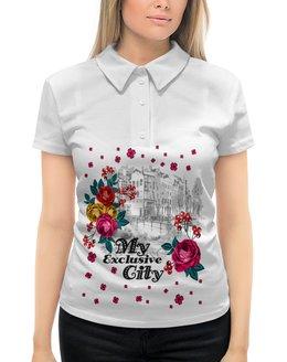 """Рубашка Поло с полной запечаткой """"Город"""" - цветы, город"""