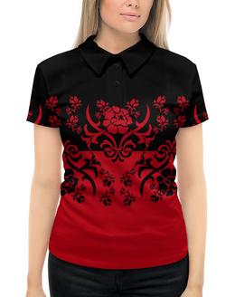"""Рубашка Поло с полной запечаткой """"Красно-черный"""" - цветы, черный, красный, орнамент, половина"""