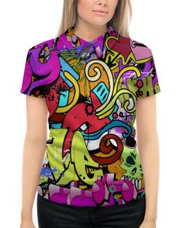 """Рубашка Поло с полной запечаткой """"Бекграунд"""" - граффити, череп, стена, рисунок, арт"""