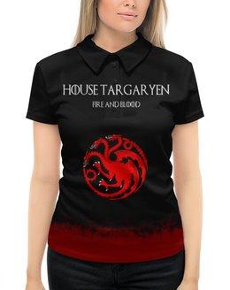 """Рубашка Поло с полной запечаткой """"House Targaryen"""" - сериал, игра престолов, game of thrones, targaryen, таргариены"""