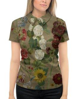 """Рубашка Поло с полной запечаткой """"Цветы (картина Эжена Делакруа)"""" - цветы, картина, живопись, делакруа, романтизм"""