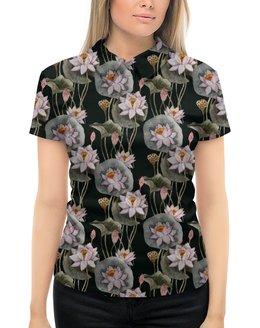 """Рубашка Поло с полной запечаткой """"ЦВЕТОЧНЫЙ СТИЛЬ"""" - природа, абстракция, лотос, стиль эксклюзив креатив красота яркость, арт фэнтези"""
