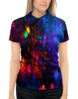 """Рубашка Поло с полной запечаткой """"Яркие пятна"""" - космос, пятна, синий, краски, цветные"""