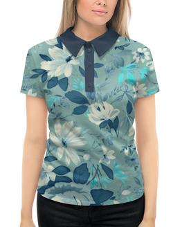 """Рубашка Поло с полной запечаткой """"Цветы. Акварель"""" - цветок, лист, роза, рисунок"""