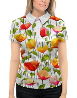 """Рубашка Поло с полной запечаткой """"Маки """" - цветок, акварель, мак, полоса, стебель"""