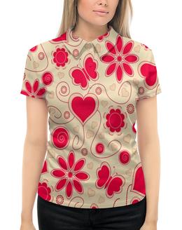 """Рубашка Поло с полной запечаткой """"Бабочки и цветы"""" - сердце, бабочки, цветы, узор, весна"""