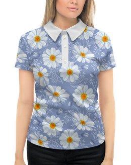 """Рубашка Поло с полной запечаткой """"Ромашки"""" - цветы, ромашки"""