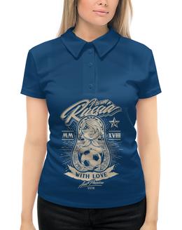"""Рубашка Поло с полной запечаткой """"Футбол"""" - футбол, матрёшка, спорт"""