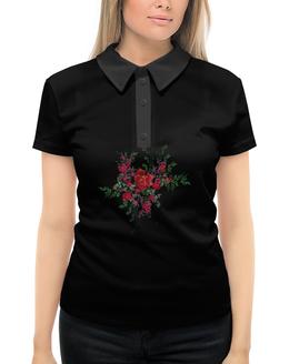"""Рубашка Поло с полной запечаткой """"Цветы"""" - цветы, розы, фрактал"""