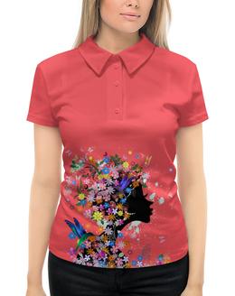 """Рубашка Поло с полной запечаткой """"Девушка"""" - бабочки, девушка, цветы, птицы"""
