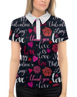 """Рубашка Поло с полной запечаткой """"День Св. Валентина"""" - день св валентина, валентинка, сердца, любовь"""