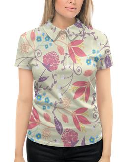 """Рубашка Поло с полной запечаткой """"Весенние цветочки"""" - цветы, узор, листья, весна, цветочки"""