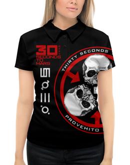"Рубашка Поло с полной запечаткой ""30 Seconds to Mars"" - 30 seconds to mars, thirty seconds to mars, джаред лето, рок, группы"