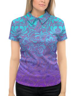 """Рубашка Поло с полной запечаткой """"Мираж"""" - рисунок, гжель, роспись"""