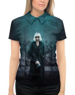 """Рубашка Поло с полной запечаткой """"Взрывная блондинка"""" - девушка, секс, girl, кино, шарлиз терон"""