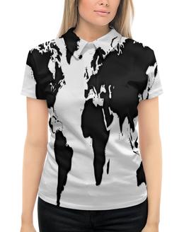 """Рубашка Поло с полной запечаткой """"Карта"""" - планета, карта, черно-белые, география, материк"""