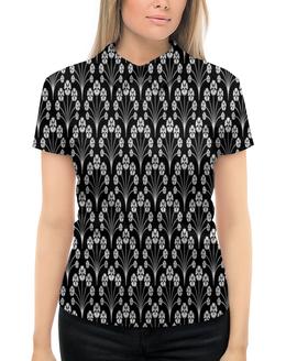 """Рубашка Поло с полной запечаткой """"Цветы черно-белые"""" - цветы, узор, черно-белые, листы, листки"""